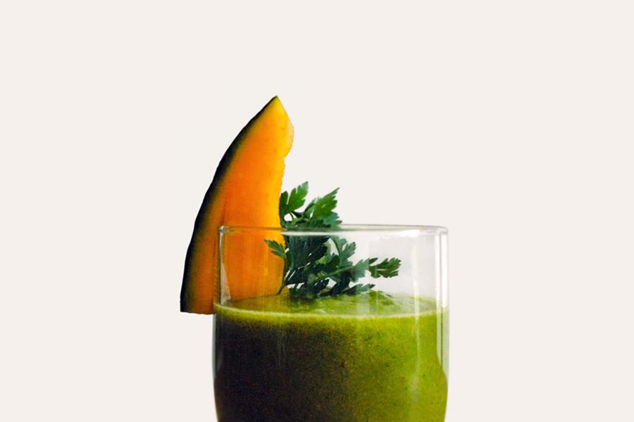 Grüner Smoothie mit Zuckermelone