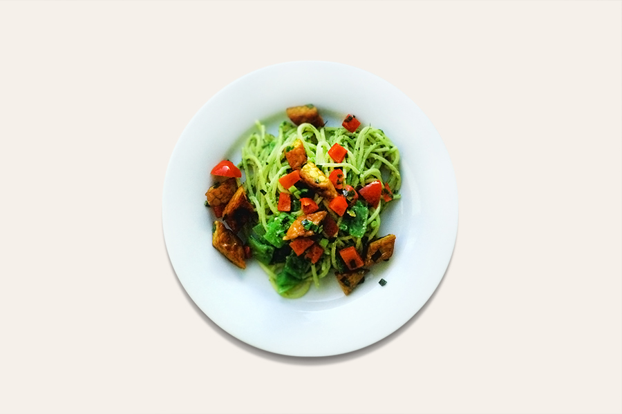Spaghetti mit Stangenbohnen und Tempeh