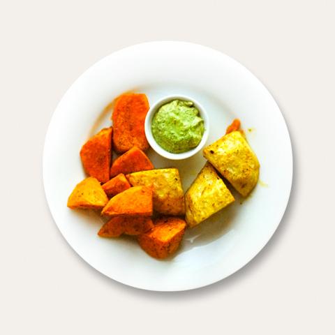 Süßkartoffeln und Sellerieknolle aus dem Ofen